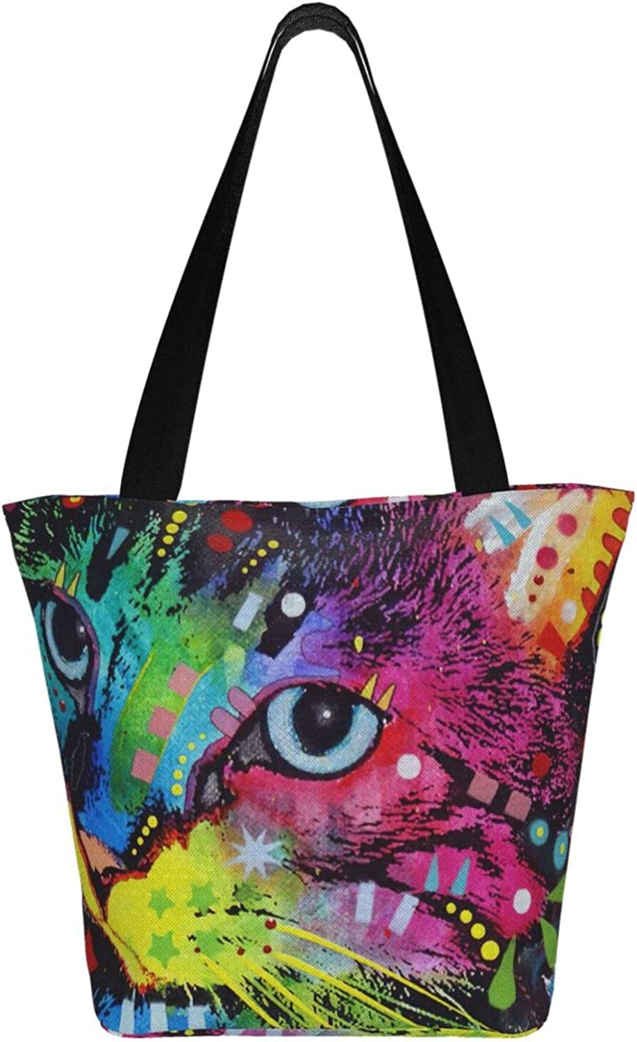 Colorful Crown Cats Brightly Colored Pet Themed Printed Women Canvas Handbag Zipper Shoulder Bag Work Booksbag Tote Purse Leisure Hobo Bag For Shopping