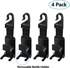 Magic Headrest Hooks for Car, Universal Purse, Backpack, Coat, Handbag & Grocery Bags Car Front Back Seat Headrest Hanger Hooks Organizer with Thicker Straps and Bottle Holder (4 Pack)