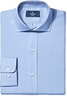 Amazon Brand - BUTTONED DOWN Men's Classic Fit Cutaway-Collar Solid Pinpoint Dress Shirt, Supima Cotton Non-Iron