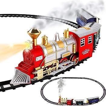 20 Pcs Electric Train Set Lights Sounds Smoke Engine Choo Choo 3 Cars Locomotive