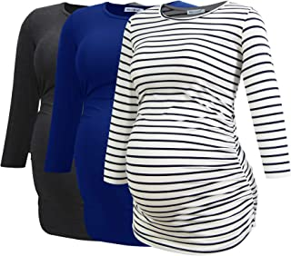 Women's Maternity Tops 3/4 Sleeve Tunic Pregnancy Clothes...