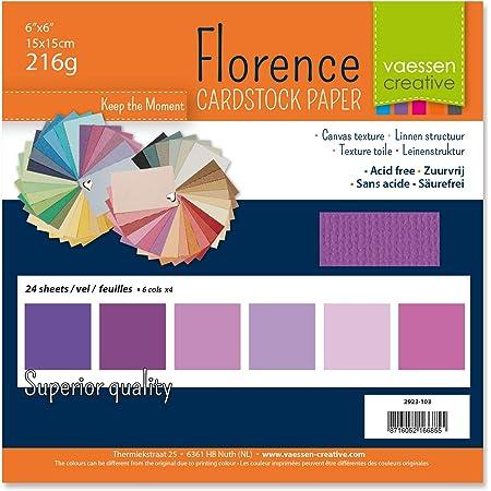 Vaessen creative 2923-103 Papier Scrapbook Florence 216g 6x6 inches-Multipack de 24 Feuilles Violet, Multicolore, 15 x 15 x 0,8 cm