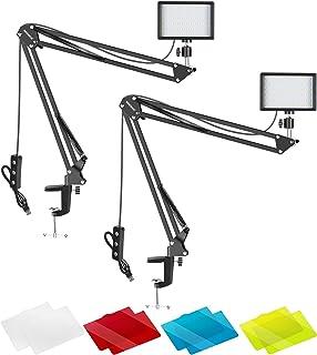 Neewer Videokonferenz Licht kit für Zoom Anrufbesprechung/Fernarbeit/Selbstübertragung/YouTube Video/Live Streaming: Dimmbares 2 Pack LED Videolicht 5600K mit Scherenarmständer und Farbfiltern