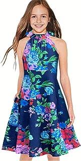 فساتين ميس بي للفتيات بدون أكمام مطبوعة فستان صيفي برقبة على شكل رسن فساتين كاجوال فضفاضة