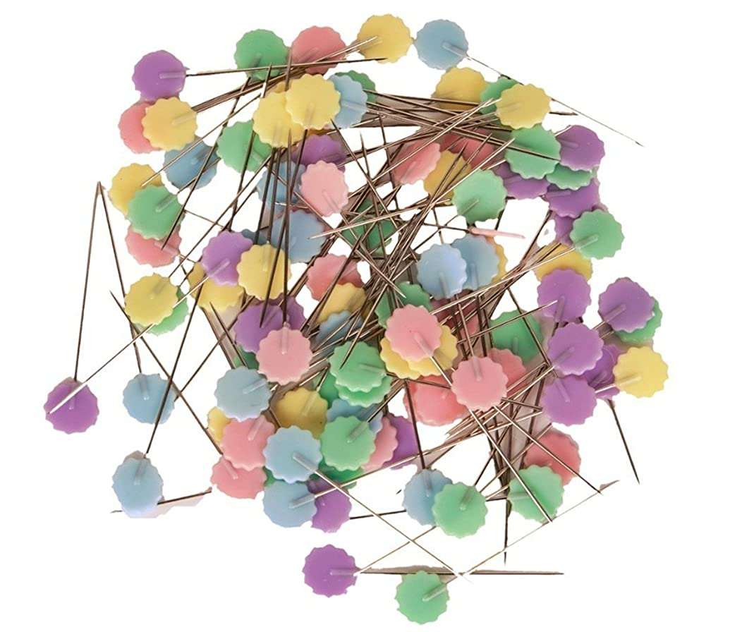 TECH-P Quilting Quilter's 1.9'' Colorful Happy Flower Head Pins Boxed (2x100 Count)