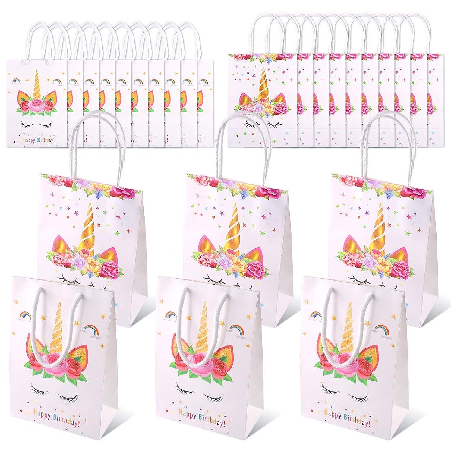 Swpeet 20Pcs Unicorn Paper Gift Wraping Bags Kit, Paper Goodie Bag Glitter Treat Gift Bags for Unicorn Birthday Party Birthday Baby Shower Wedding Gift Bag