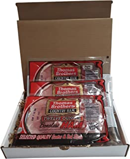 Thomas Brothers Country Ham Gift Pack, 3 - 12 Ounce Packages of Country Ham in a Gift Box