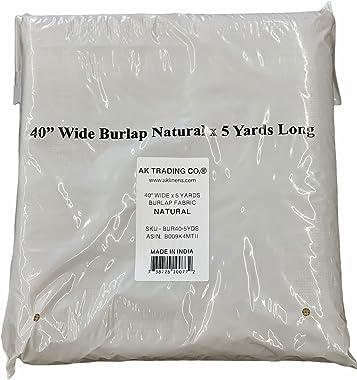 "AK TRADING CO. BUR40-5YDS Burlap Natural, X 5 Yards Long, 40"" Wide"
