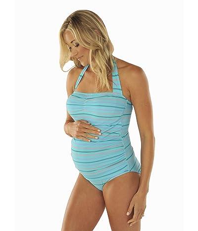 Prego Maternity Wear Stripe-Sweetheart Tank (Turquoise) Women