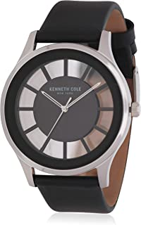 Kenneth Cole New York All Black Transparent Dial Leather Strap Watch