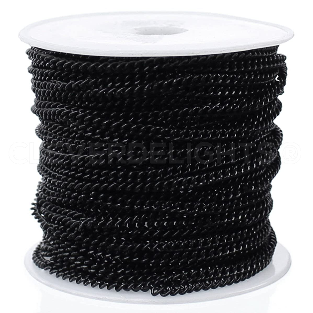 CleverDelights Curb Chain Spool - 2.2x3mm Link - Dark Black Color - 100 Feet - Bulk Jewelry Roll