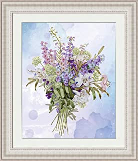 Needle Work Ribbon Embroidery Kit Lavender DIY Wall Decor Stamp Canvas 3D Painting Not Include Frame Lavender