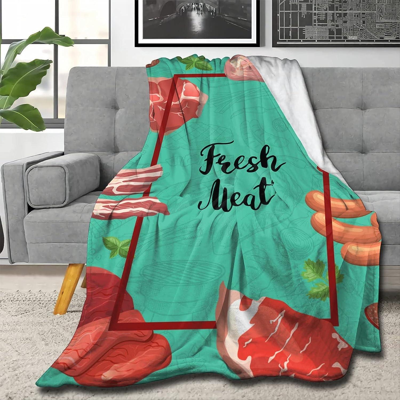 Cartoon Meat Elements Frame Summer Blanket Finally popular brand Soft sold out Lightweight Brea