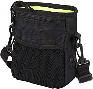 HANWELL Dog Treat Pouch with 2 Poop Bags Dispenser, Hand-Free Pet Training Pocket with Adjustable Waist Belt and Shoulder Strap for Running Carry Food and Toys