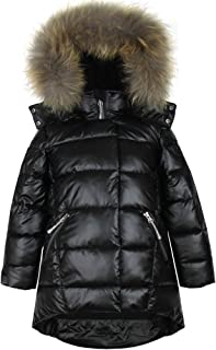 Deux par Deux Girls' Puffer Coat with Real Fur in Black, Sizes 4-16
