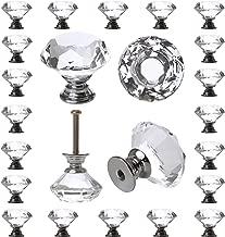 25 Pack Diamond Cabinet Knobs, 30mm, Crystal Drawers Handles, Glass, Dresser Drawer Pulls, Vintage, Decorative Furniture Hardware for Closet Door, Bathroom, Vanity, Desk, Cupboard