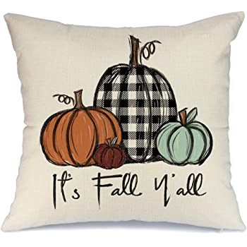 Amazon Com Fukeen Throw Pillow Cover Hello Fall Farm Blue Truck Pickup Orange Pumpkins Maple Leaves Pillow Cases Cotton Linen Home Office Living Room Decor Square 18x18 Inch Cushion Cover Home Kitchen