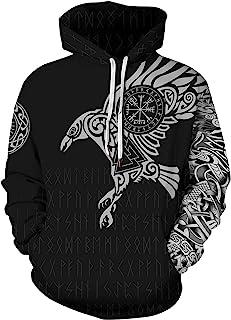 DUOLIFU Men's 3D Digital Print Viking Tattoo Hoodie Hoodies Pullover Sweatshirt Plus Size S-5XL