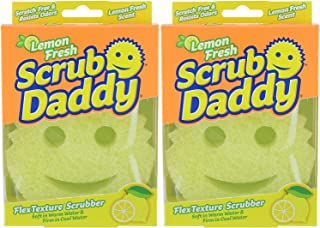 Scrub Daddy, Lemon Fresh Scrubber - FlexTexture Sponge, Soft in Warm Water, Firm in Cold, Deep Cleaning, Dishwasher Safe, Multiuse, Scratch Free, Odor Resistant, Functional, Ergonomic, 2pk
