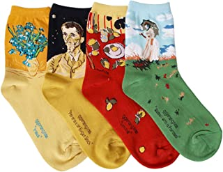 OSABASA Womens Art Patterned Casual Crew Socks 1 or 4 or 5 Pack