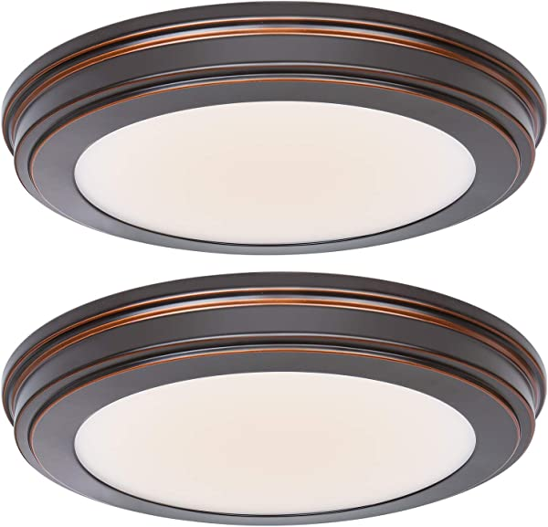 Hykolity 13 Inch Oil Rubbed Bronze LED Ceiling Flush Mount 3000K 4000K 5000K Switch 1365LM 180W Incandescent Equivalent CRI90 LED Round Ceiling Light Fixture For Bathrooom Bedroom Dining Room Office