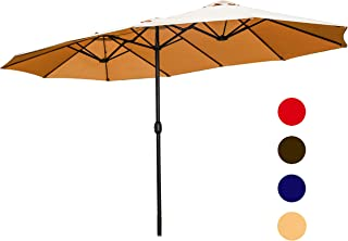 LOKATSE HOME Double-Sided Market Patio Outdoor Umbrella, 15 Feet Garden Aluminum Umbrella Twin Sun Canopy Umbrella with Crank (Khaki)