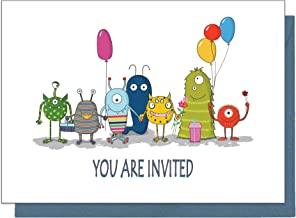 15 Eco Friendly Monster Birthday Invitations for Children (With Blue Envelopes)…