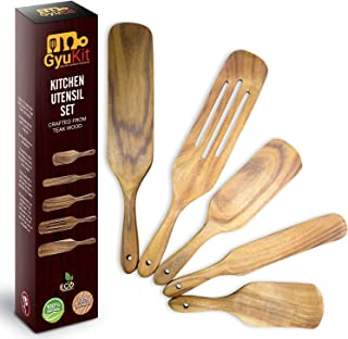 ست چوبی اسپورتل وسایل آشپزخانه | بسته 5 ابزار آشپزخانه Spurtles که در تلویزیون دیده می شود | ظروف چوبی ساج ممتاز برای آشپزی | ست کاردک چوبی | قاشق چوبی مقاوم در برابر حرارت برای پخت و پز