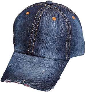 Bullidea Unisex Sun Hat Adjustable Denim Baseball Cap(Dark Blue)