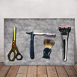 VVOVV Wall Decor Hair Salon Decor Wall Art Vintage Barber Shop Art Prints Razor Scissors Shaving Brush Barber Tools Sets on Vintage Background Great Gift for Barbers Framed Ready to Hang 24
