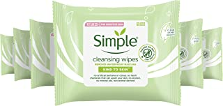 Simple Kind to Skin Cleansing Facial Wipes make up remover and Lifts Impurities Out, 25 Face Wipes (Pack of 6 x 25)