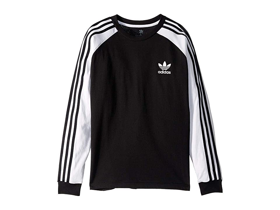 Image of adidas Originals Kids 3-Stripes Long Sleeve (Little Kids/Big Kids) (Black/White) Boy's Long Sleeve Pullover