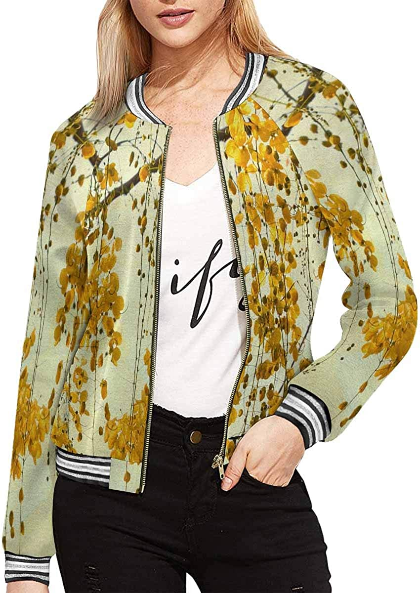 InterestPrint Women's Music Notes on Old Paper Sheet Stand Collar Long Sleeve Jacket