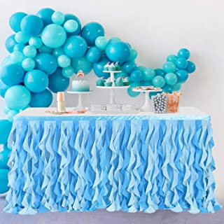 Leegleri Tulle Curly Willow Table Skirt for Rectangle Table, Ocean Blue Tutu Ruffle Frozen Table Cloth for Baby Shower, Un...