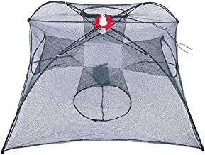 CapsA Foldable Fishing Net Crawfish Trap Crab Fish Trap,Foldable Fishing Bait Trap Cast Net Cage for Catching Small Bait Fish Eels Crab Lobster Minnows Holes Automatic Shrimp Cage Nylon Fo
