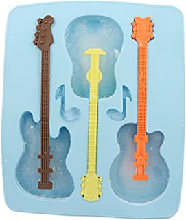 HDE Guitar Shaped Music Party Silicone Jello Chocolate Mold Ice Cube Tray with 3 Neck Drink Stirrers