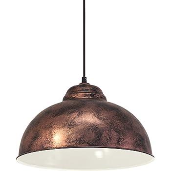 EGLO Pendellampe Truro 2, 1 flammige Vintage Pendelleuchte im Industrial Design, Retro Hängelampe aus Stahl, Farbe: Kupferfarben antik, Fassung: E27