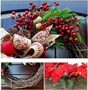 BODODO-Christmas Couronne de Noël/Guirlandes Fleurs Artificielles/Deco Sapin de Noel Guirlande, l'intérieur et l'extérieur idéal Déco Noël pour magasins,Bureaux,Sapin de Noël ou DIY(30cm)