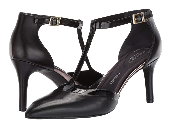 Vintage Style Shoes, Vintage Inspired Shoes Rockport 75 mm Total Motion Pointy Toe Pump Layer T Black Womens Shoes $89.96 AT vintagedancer.com