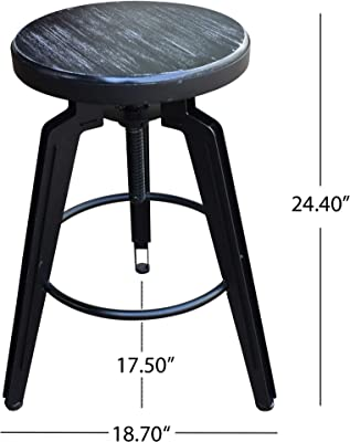 Clem Swiveling Iron Barstools with Firwood Seats, Black and Brushed Dark Gray (Set of