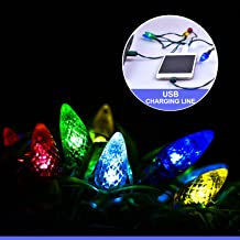 Fotbor LED Christmas Lights Charging Cable, USB and Bulb Charger, 50 Inch 10 LED Multicolor Available with Phone 5,5s,6,6plus,6s,6s Plus,7,7plus,8,8plus,X,XR,XS,XS Max,11Pro Max (Pine Cone-10LED)