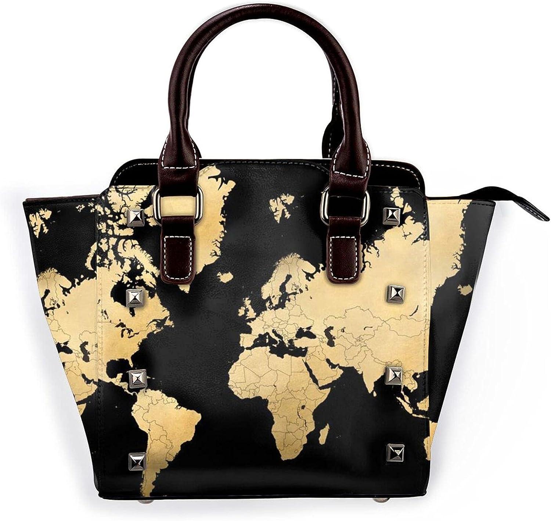 Ladies Leather Rivet Indefinitely Shoulder Bag Mult Vintage Brand new World Maphandbag