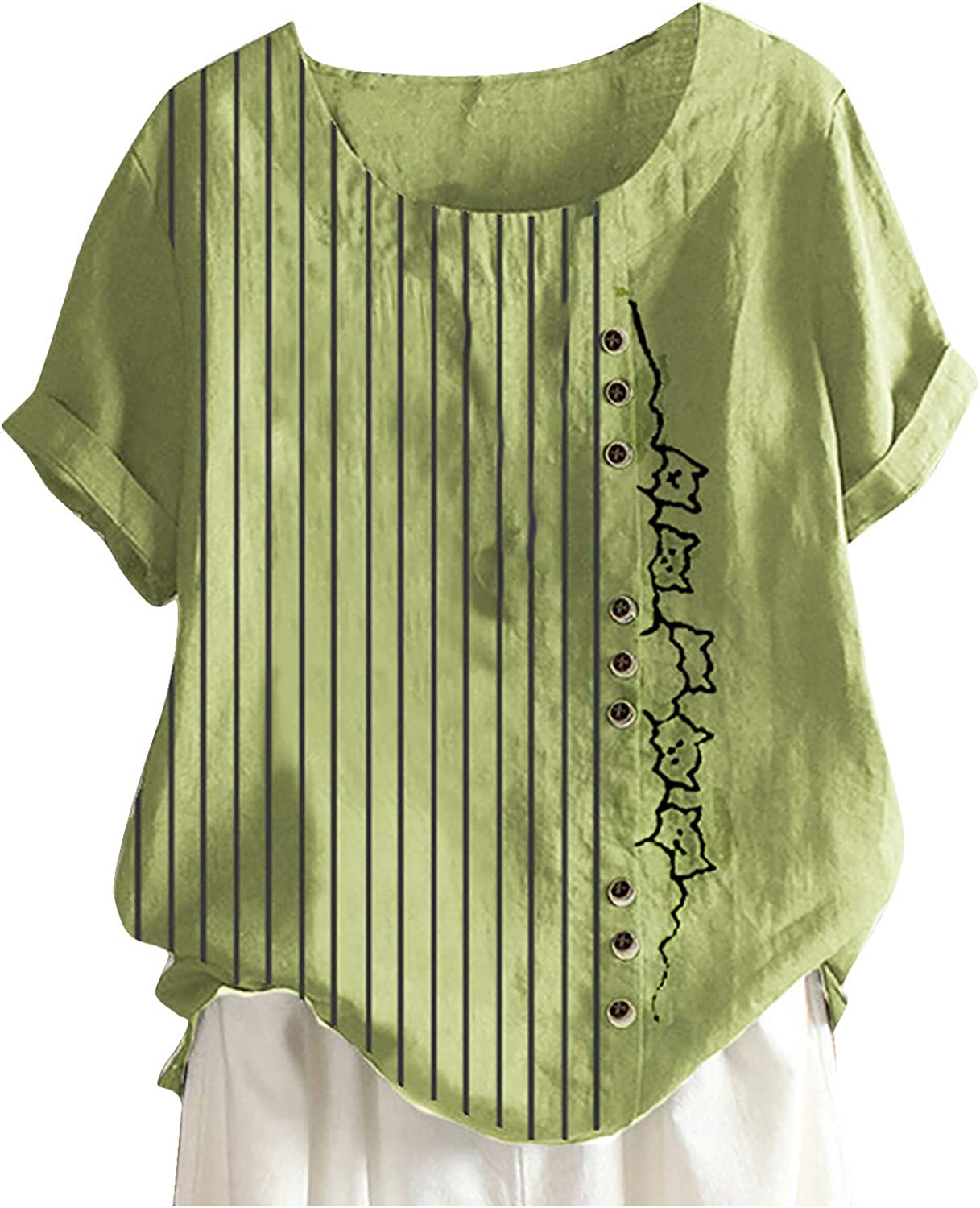 Women's Printed Short Sleeve Top Summer Casual Tees Plus Size T-Shirt Top Blouse