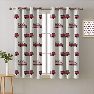 Jinguizi Fire Truck Fabric The Yard Grommet Room/Bedroom,Pattern of The Fire Engines and Ambulances Security Safety and Rescue Vehicles,livingroom Darkening Curtains,55W x 63L