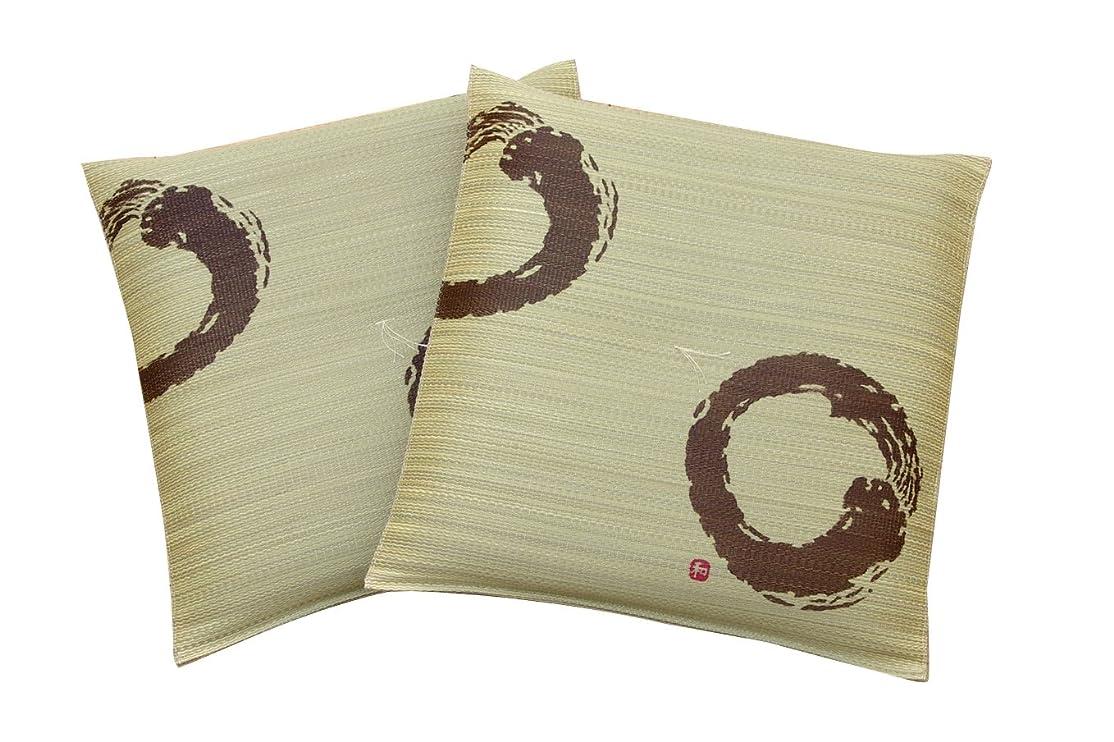 普通にメディックあさりイケヒコ い草 座布団 国産 捺染千鳥 中わた1.5倍 『DXどん 2枚組』 ブラウン 約55×55cm×2P