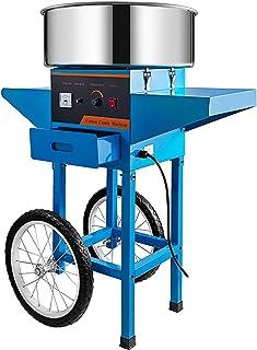 Machabeau Machine Barbe Papa Bleu 55 x 54 x 59 cm avec Chariot Professionnelle Puissance de Chauffage 1000 W Cotton Candy ...