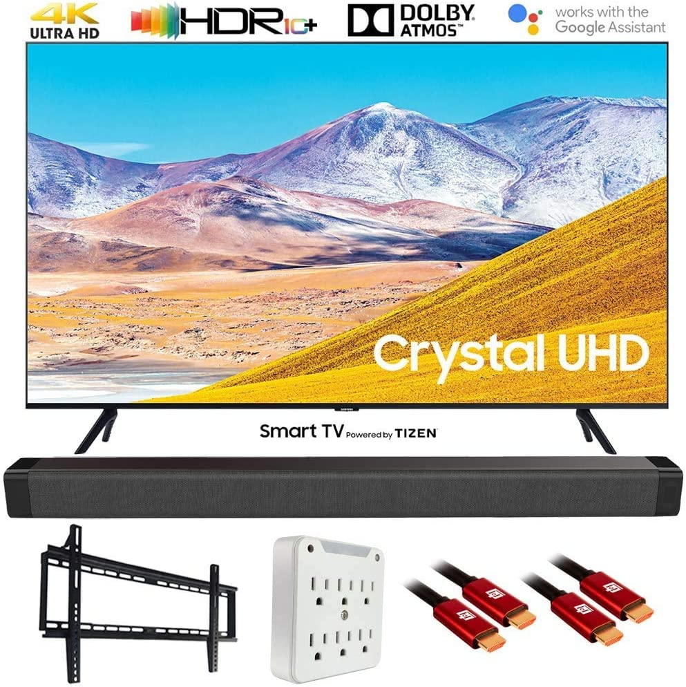 "SAMSUNG UN65TU8000 65"" 4K Ultra HD Smart LED TV (2020 Model) w/Deco Gear Soundbar Bundle"