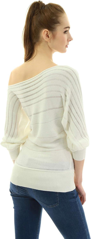Am/élieBoutik Women On Off One Shoulder Semi-Sheer Knit Top
