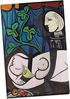 Panther Print Pablo Picasso Nude Green Leaves and Bust Canvas Print Picture Wall Art Large 30X20 Inches