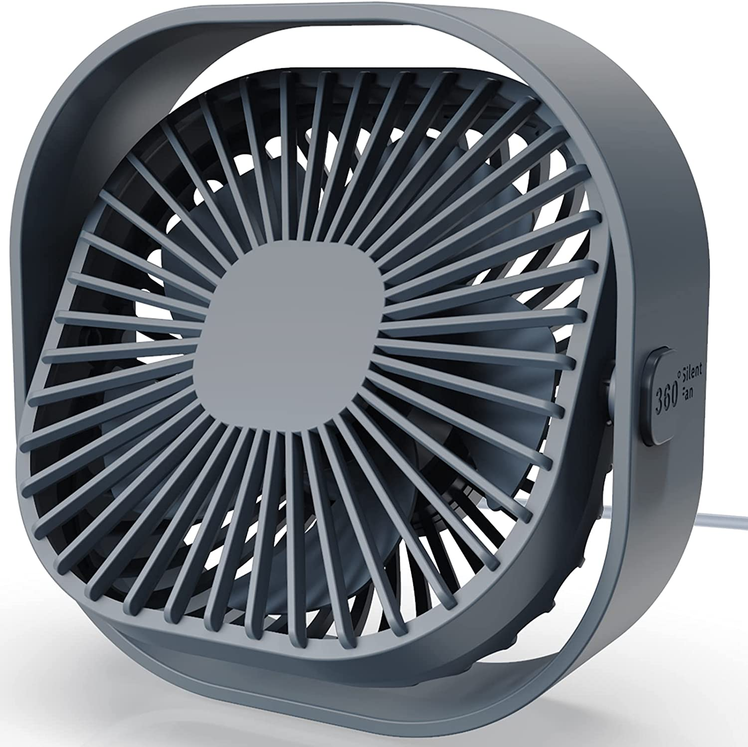 MISSUE USB Desk Fan, Personal Fan with 3 Speeds and 360 Degree Rotation, Portable USB Powered Fan for Home, Office, Indoor and Outdoor